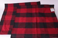set/2 NWT Pottery Barn Buffalo Check pillow covers 24 black red plaid Christmas