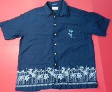 Vtg 90's Tommy Hilfiger Hawaiian Camp Shirt Men's 2XL Blue Bamboo Cotton