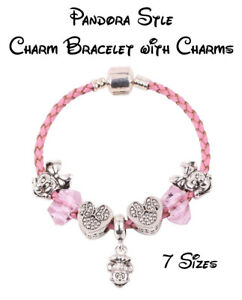 15-21cm Pink Snake Chain Bracelet with Minnie Mouse Charms -  Fast & Free Post