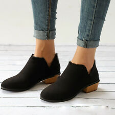 New Womens Stylish Ankle Boots Low Block Heel Ladies Lace Casual Party Shoes