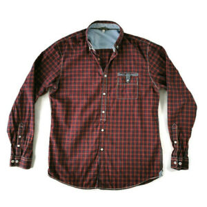 """Joules Size M 40"""" Red Maroon Navy Blue Check Long Sleeve Casual Shirt Mens"""