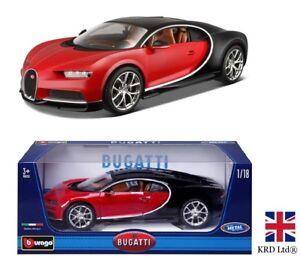 BUGATTI CHIRON 1:18 Scale Diecast Model Car Burago Team Collectors Toy Gift Box