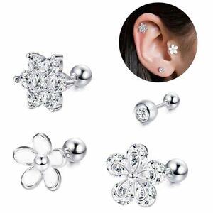 2PCS 16G CZ Ear Stud Ring Ear Tragus Labret Lip Pin Ring Body Piercing Jewelry