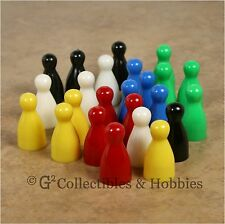 NEW Set of 24 Halma Pawns Board Game Playing Pieces 25mm Pawn - 6 Colors