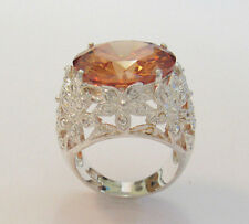 Cut Ring Size 8 to 81/4 Flower Vintage 925 Sterling Silver Amber Citrine Octogon