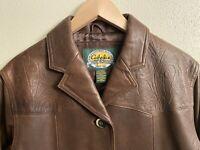 EUC Women's Western Leather 3 Button Jacket Coat Cabela's Size M