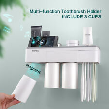 Magnetic Toothbrush Toothpaste Holder Bathroom Organizer Storage Rack 3 Cup