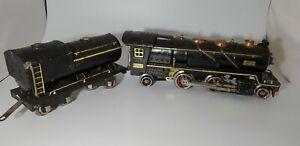 "Lionel Prewar O Gauge Big 260E ""Cream Stripe"" Steam Locomotive & Tender 1930"