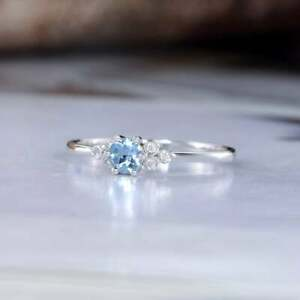 Natural 5ct Aquamarine&Diamond Sterling Silver Stackable Engagement Ring For Her