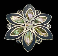 VTG Taxco Abalone Lapis Sterling Flower Brooch Pendant_ 1940s/50s Mexico Eagle 3