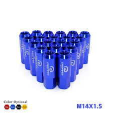 20PCS EXTENDED FORGED ALUMINUM TUNER RACING LUG NUT 60MM M14X1.5 BLUE CONE SEAT