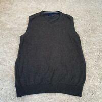 LINCOLN Mens Knitted Jumper Vest Medium Grey Cotton Pullover
