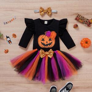 NEW Baby Girls Jack-o-Lantern Halloween Bodysuit Tutu Skirt Headband Outfit Set