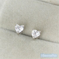 18K White Gold Plated Stud Earrings Heart Brilliant Cut white CZ's Nickel Free