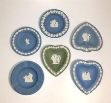 Jasperware Wedgwood Card Trinket Plates Ashtray ~ Green Blue ~ Set of 6