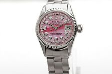 $7000 PINK MOP Diamond Genuine ROLEX Ladies DATEJUST Oyster 18k Gold SS Watch