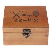 Retro Wooden Sewing Box Set w/ Parts DIY Tools Supplies Women Hobbyist Gift