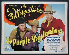 THE PURPLE VIGILANTES BOB LIVINGSTON 3 MESQUITEERS WESTERN 1938 TITLE CARD