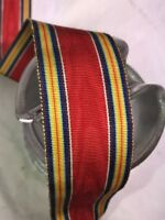 "BTY 1 yard 1 3/8"" red moire vintage striped rayon grosgrain ribbon millinery hat"