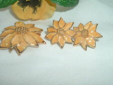 VINTAGE CLOISONNE ENAMEL SUNFLOWER PIN PENDANT AND PIERCED EARRINGS SET