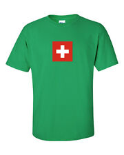 New Swiss Switzerland Suisse Flag White Cross Red Cross T-Shirt Tee Men's CHF