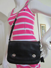 New Coach 25361 Legacy Double Gusset Flap Crossbody Bag Black  NWT $298