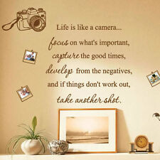 La vida es como una cámara foto familia cotizaciones de arte pegatinas de pared Calcomanías palabras Frases