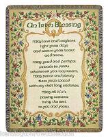 "THROWS - IRISH BLESSING TAPESTRY THROW BLANKET - 51"" x 68"" - IRELAND - CELTIC"