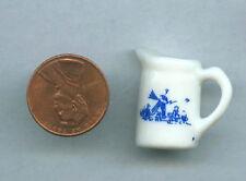 Miniature Dollhouse White Porcelain Pitcher Blue Design