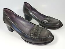 Logan grey distressed patent leather mid block heel shoes uk 4 eu 37