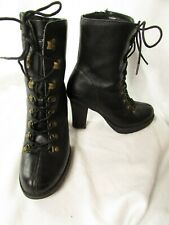 Sketchers Womens High Heel Boots Size 9.5 M Black Leather Lace-Up Zip Side