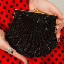 vintage black & gold shell shaped scalloped clutch bag evening bag