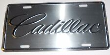 CADILLAC SCRIPT LICENSE PLATE CHROME & BLACK MADE IN USA STAMPED ALUMINUM GM CTS