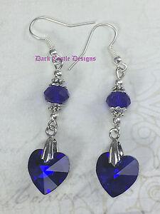 Handmade Classic Vintage Drop Dangle Beaded Blue Heart Earrings Gothic Jewelry