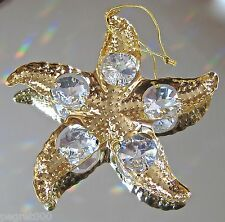 Starfish Ornament Made with Swarovski Octagon Prisms, 24K Gold Plate