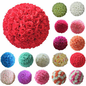 20cm  Artificial Flowers Rose Flower Balls Topiary Hanging Basket Plant Home Dec