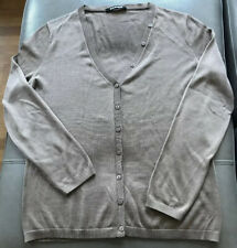 Rodier Women's Taupe Silk And Cotton V Neck Cardigan Size 42 / UK 14