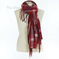 FRAAS Women's FUCHSIA CHECK Winter SCARF Long NOODLE FRINGE Red, White & Purple