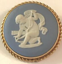 ❤WEDGWOOD JASPERWARE ~ VAN DELL PENDANT OR PIN ~ CHERUB CAMEO 12K GF 1970 MINT❤