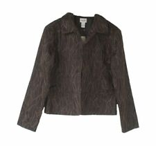 """NWT Chico's Black w/Bronze """"Fittonia Cutback"""" Open-Front Jacket Size 1 (Medium)"""