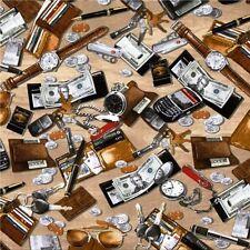 Man Cave Pocketchange Keys Wallets Cell Phone Watch Cotton Fabric Fat Quarter