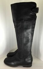 BP Womens Black Leather Darby Over The Knee Boots Shoe Size 6.5