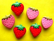 32 pcs Red & Pink Strawberry Buttons Applique Mix Craft SB119b