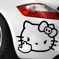 HELLO KITTY MIDDLE FINGER SKULL BOW STICKER VINYL DECAL VEHICLE CAR LAPTOP