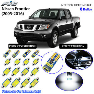 8 Bulbs LED Interior Dome Light Kit Cool White For 2005-2016 Nissan Frontier
