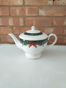 Royal Worcester Tea Pot - Holly Ribbons Green - Made In England