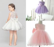 Lace Flower Girl Dress Party Prom Birthday Princess Dress White Pink Purple