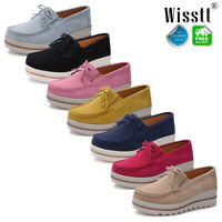 Women's Suede Leather Slip On Pumps Moccasins Casual Platform Loafers Boat Shoes