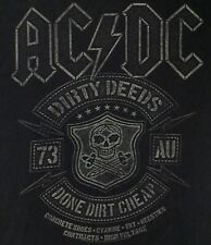 Ac/Dc Black Dirty Deeds Logo Concert Tour Graphic Rock N Roll Tee T-Shirt Size S