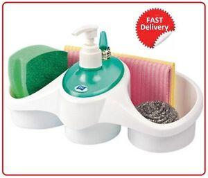 Washing UP Liquid Soap Dispenser and Sponge Holder Plastic Combo Kitchen / Bath